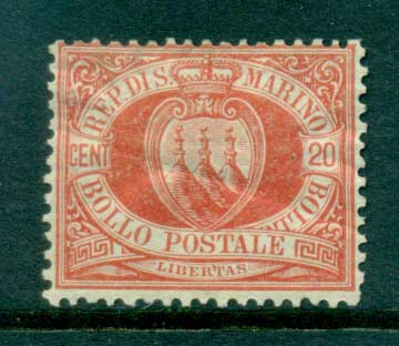 San Marino 1877-99 20c vermillion Coat of Arms (crease)MLH lot40087