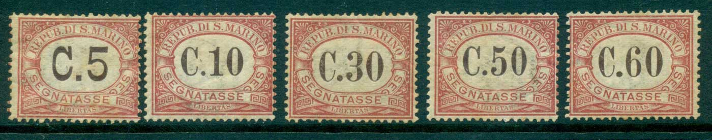 San Marino 1924 Postage Due to 60c (toned gum)MLH lot40088