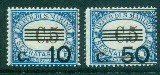San Marino 1936 10c on 5c, 50c on 5c Postage Dues MUH lot40273
