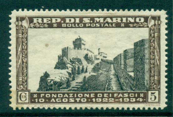 San Marino 1935 5c Ascent to Mt. Titano MLH lot40282
