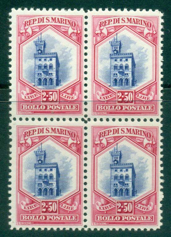 San Marino 1929 2.50 l Government Palace Blk 4 MUH lot40283