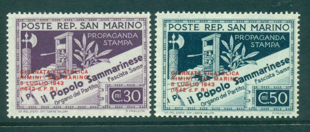 San Marino 1943 Stamp day Opt MLH lot40288
