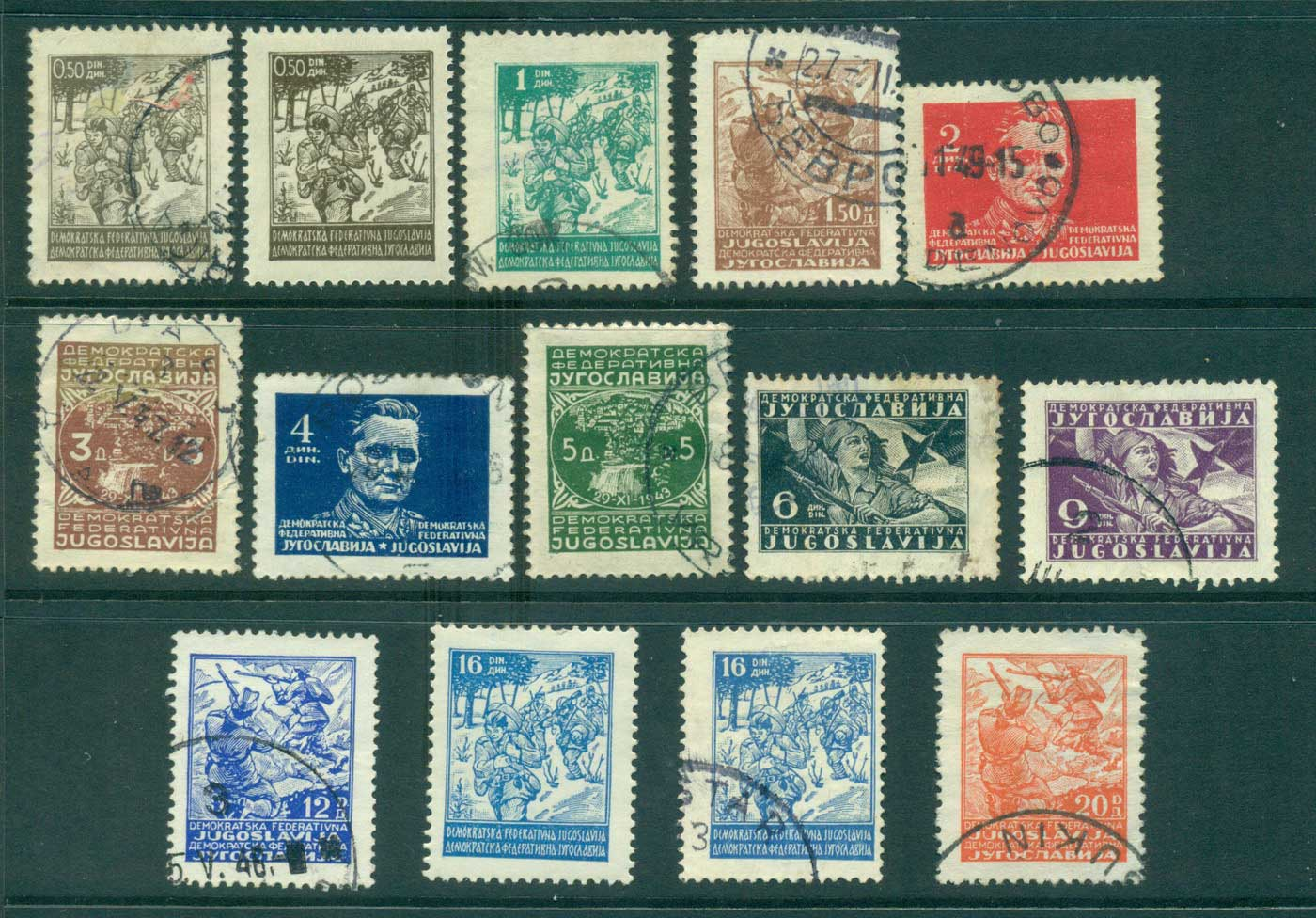 Yugoslavia 1945 Definitives FU/ MLH lot40373