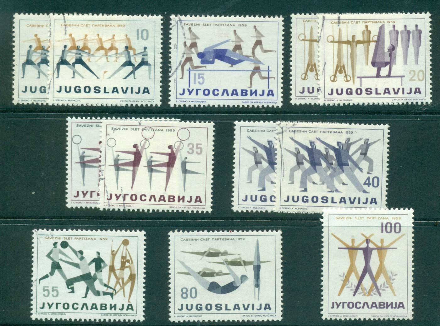 Yugoslavia 1959 Olympic Sports Asst MLH/FU lot40483