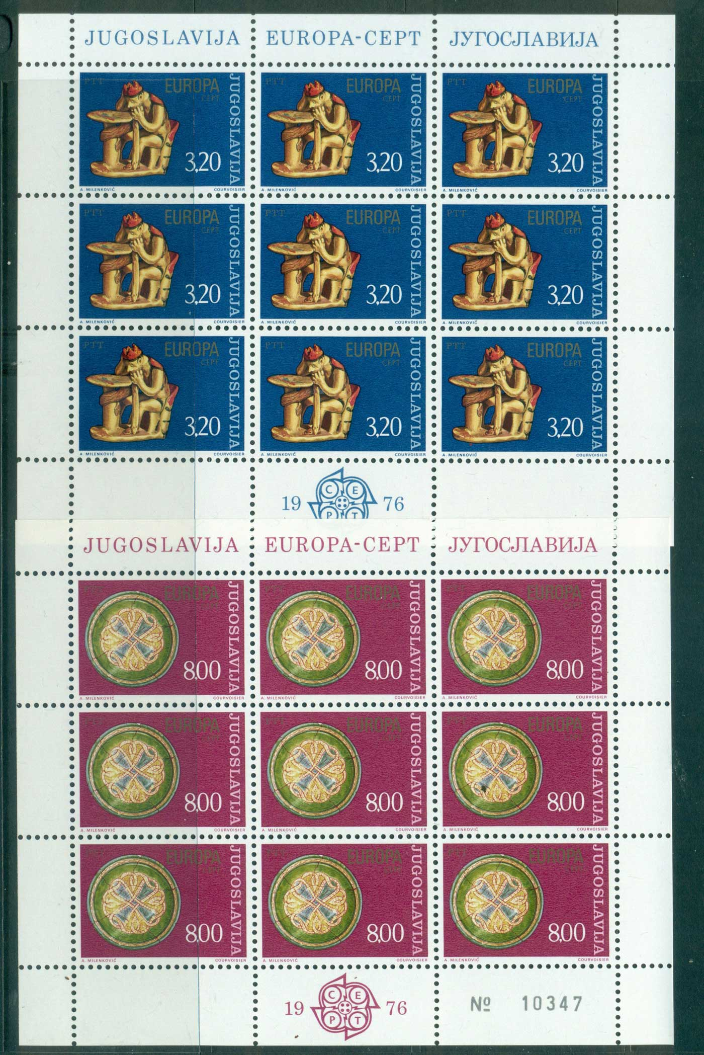 Yugoslavia 1976 Europa Sheetlets MUH lot40670
