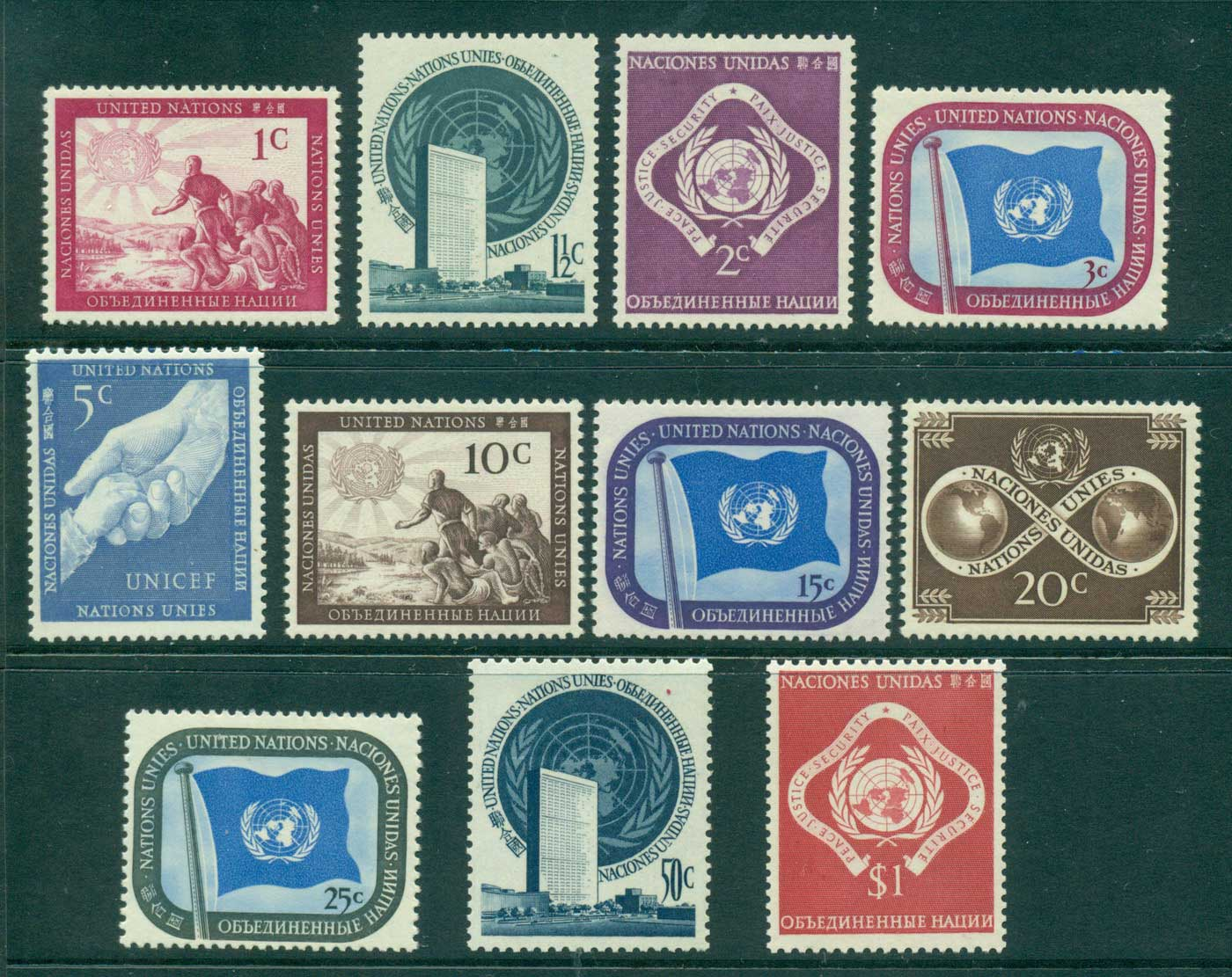 UN New York 1951 Definitives (11) MUH lot40846