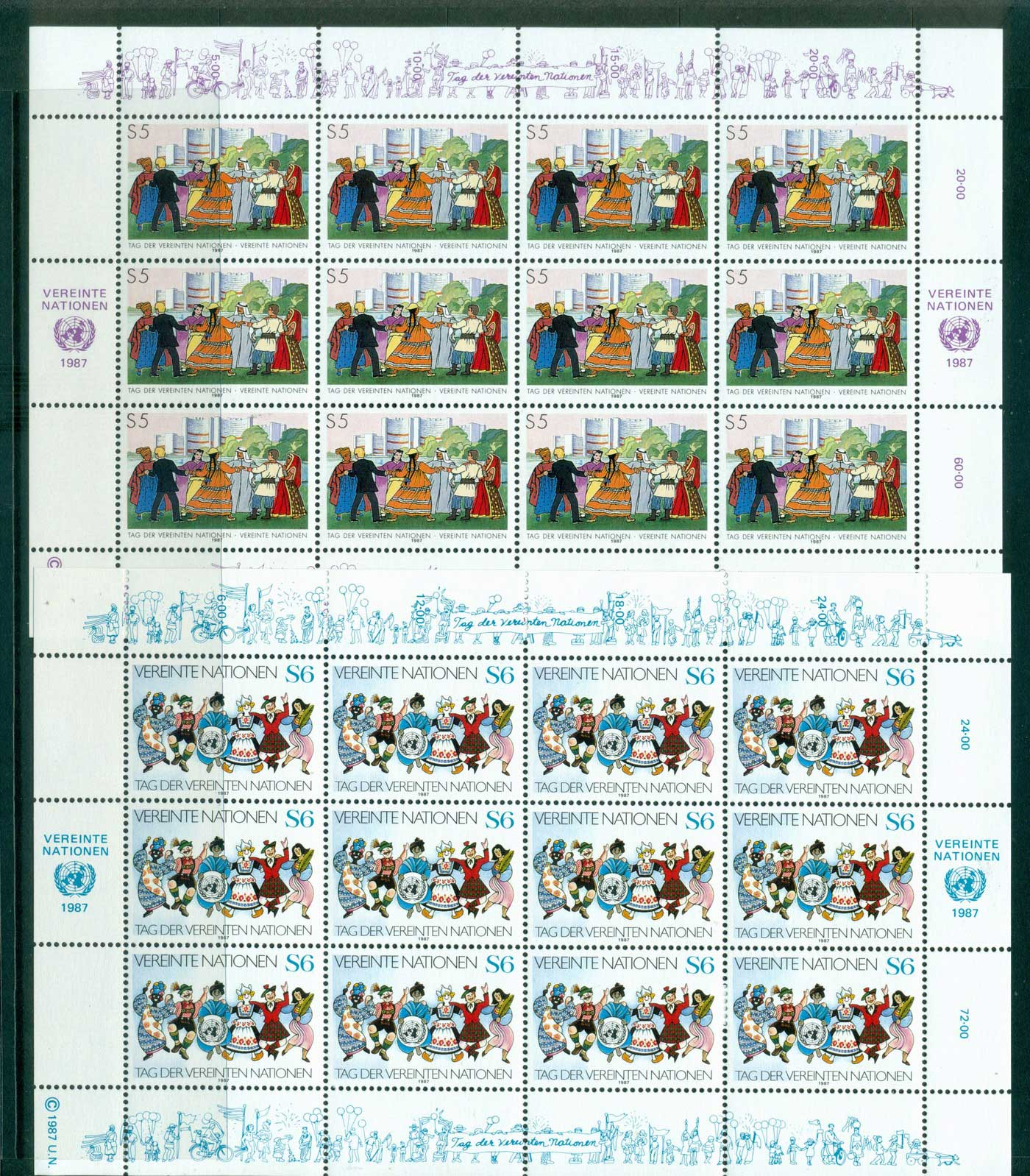 UN Vienna 1987 UN Day Sheetlets 12 MUH lot40950