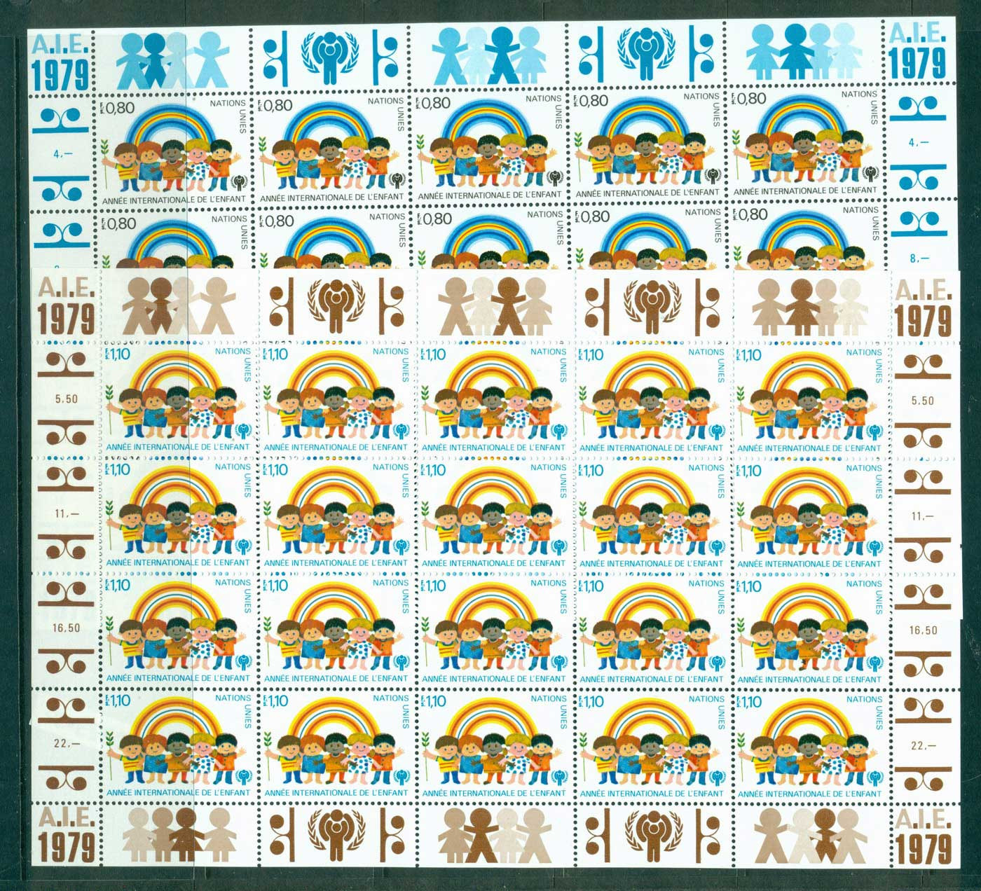 UN Geneva 1979 IYC Intl. year of the Child Sheets 20 MUH lot40953