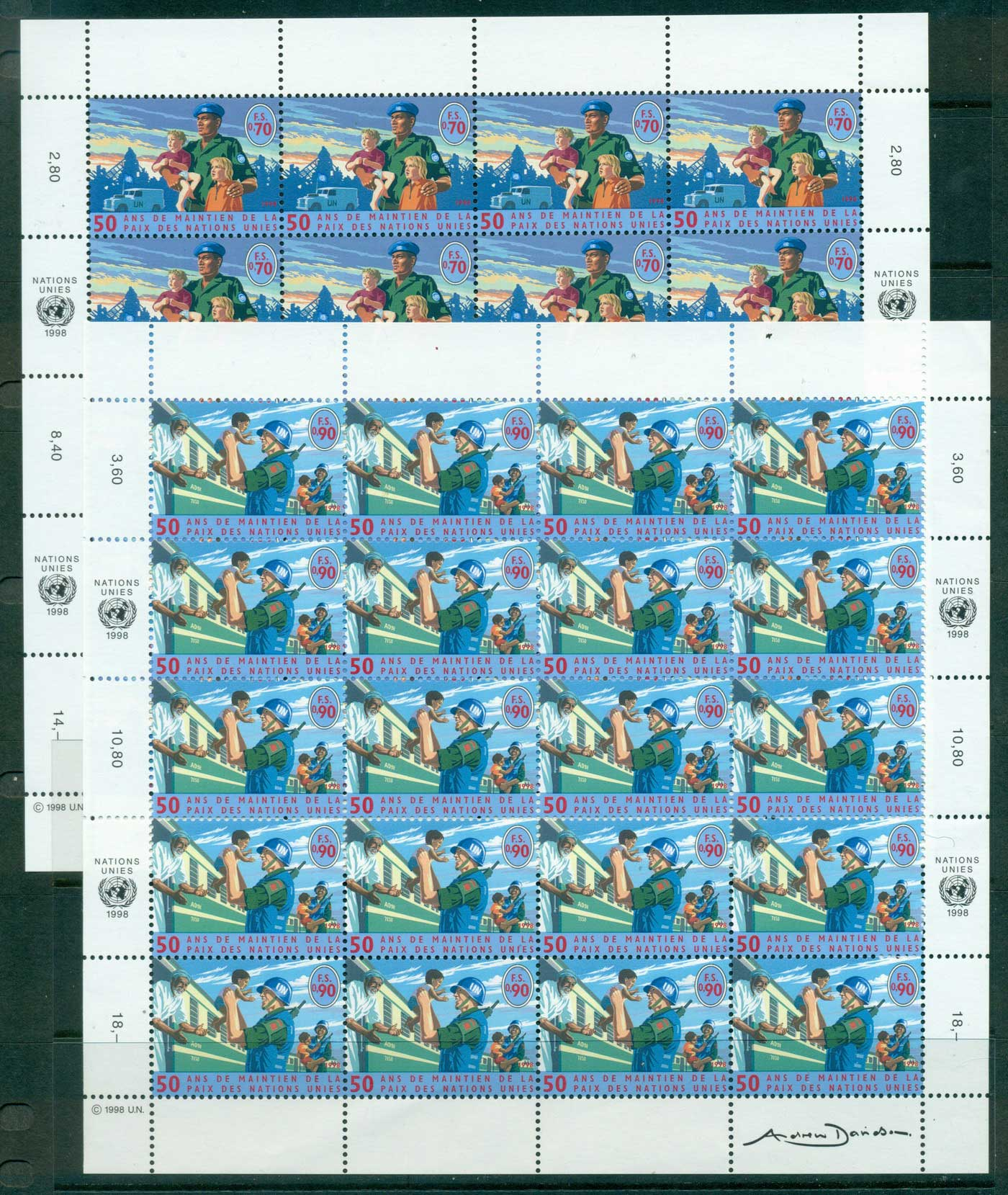 UN Geneva 1998 Peacekeeping Sheets 20 MUH lot40954