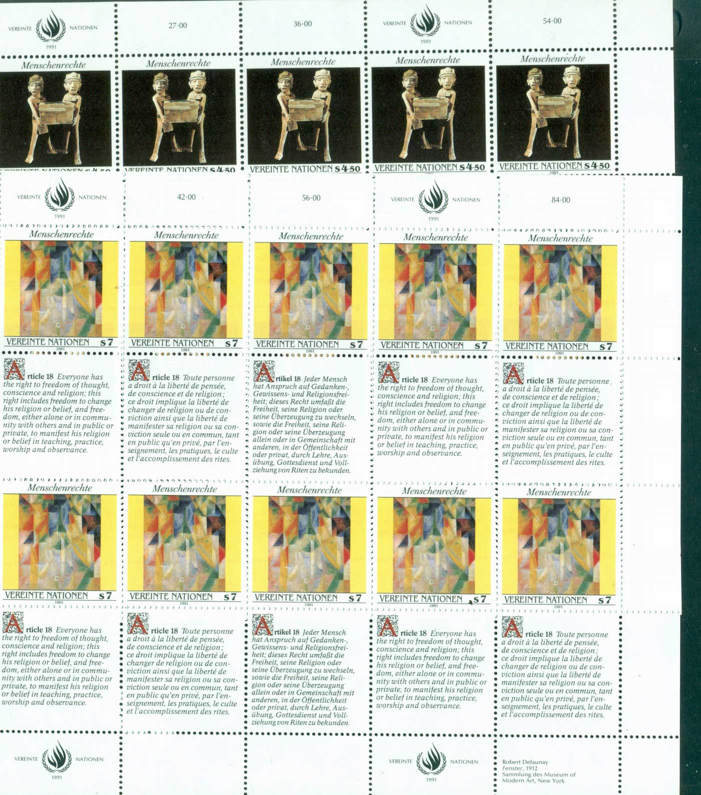 UN Vienna 1991 Human Rights Sheetlets 12 + labels MUH lot40961