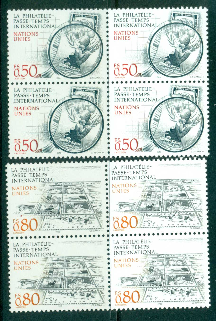 UN Geneva 1986 Stamp Collecting Blk 4 MUH lot40974