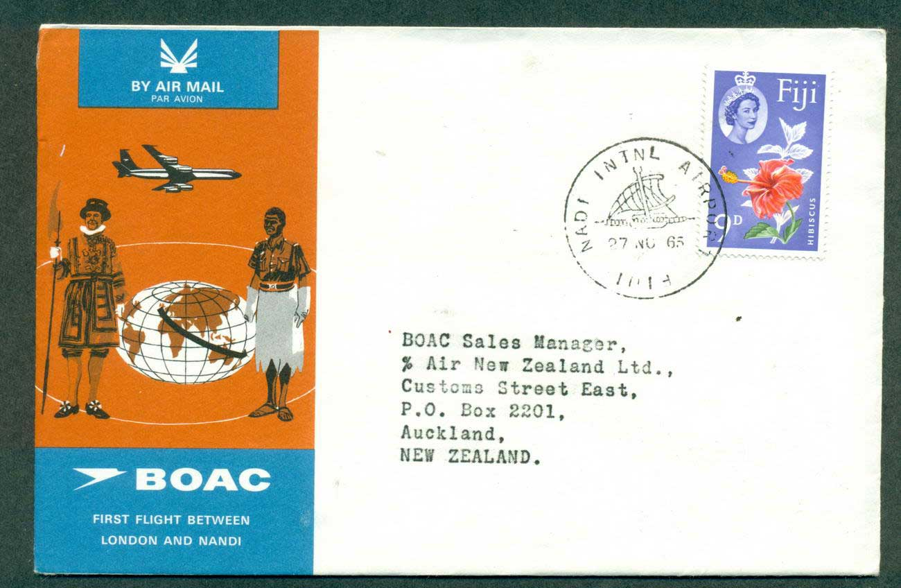 Fiji 1965 First Flight BOAC London Nadi 27 Nov 65 lot42609