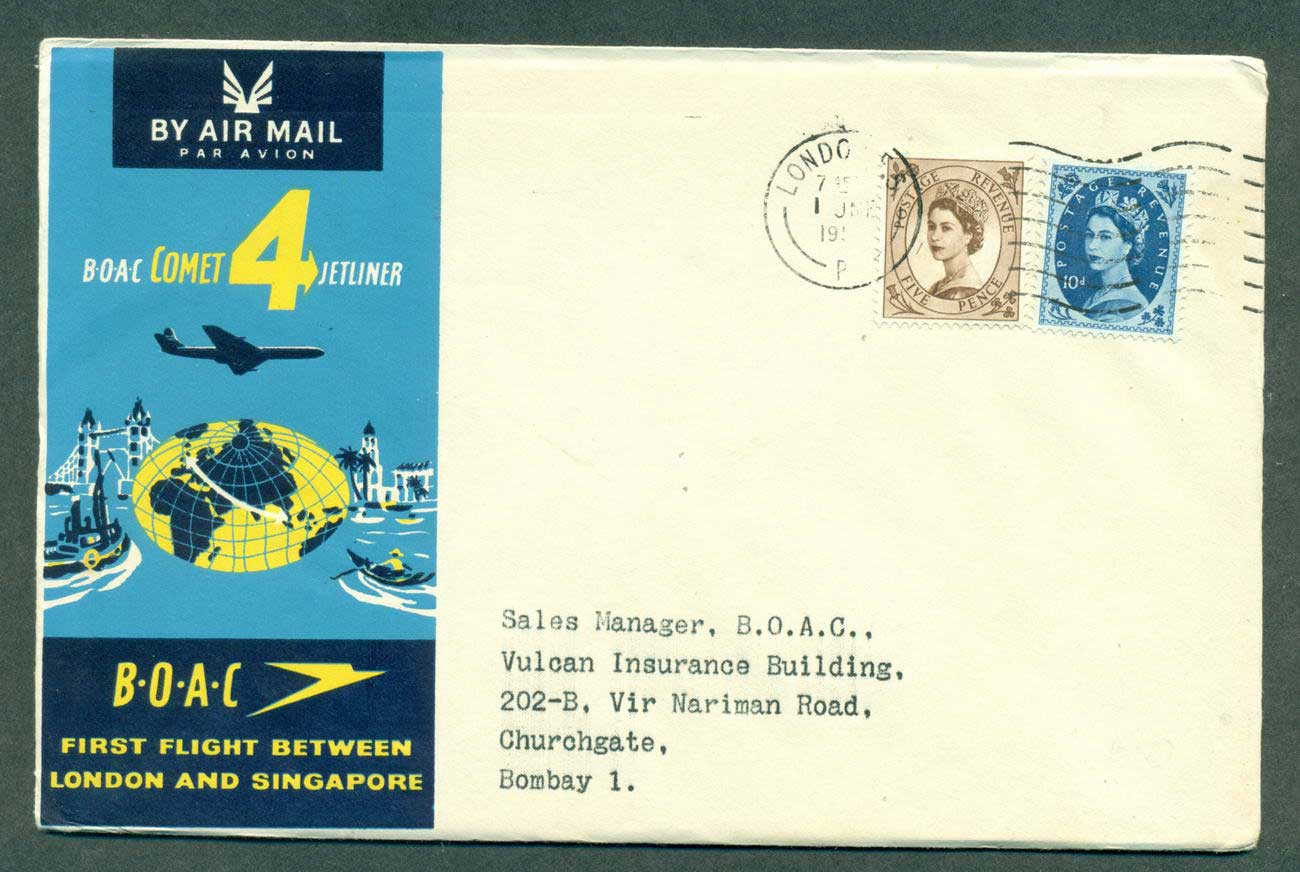 GB 1959 First Flight BOAC London Singapore 1 Jun 59 lot42610