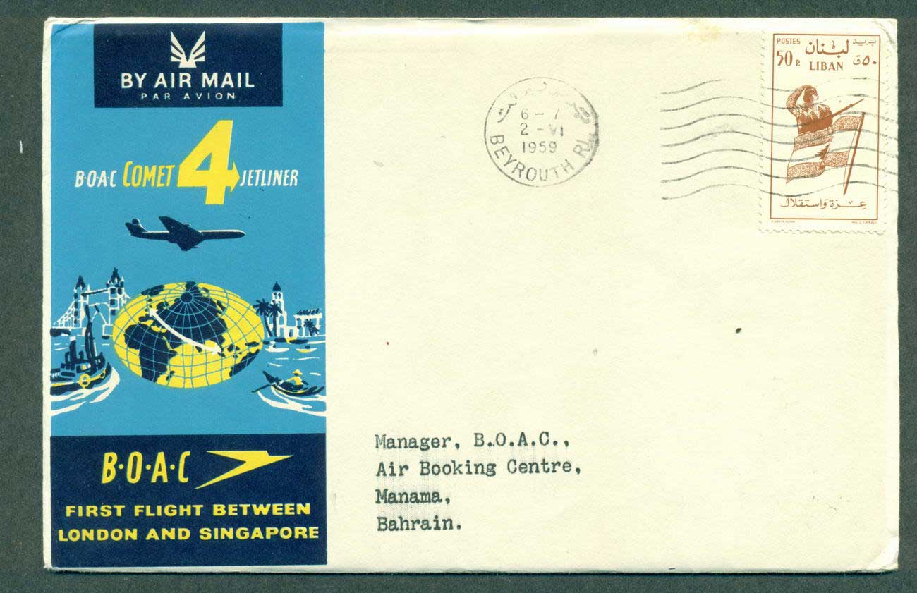 Lebanon 1959 First Flight BOAC London Singapore 2 Jun 59 lot42615