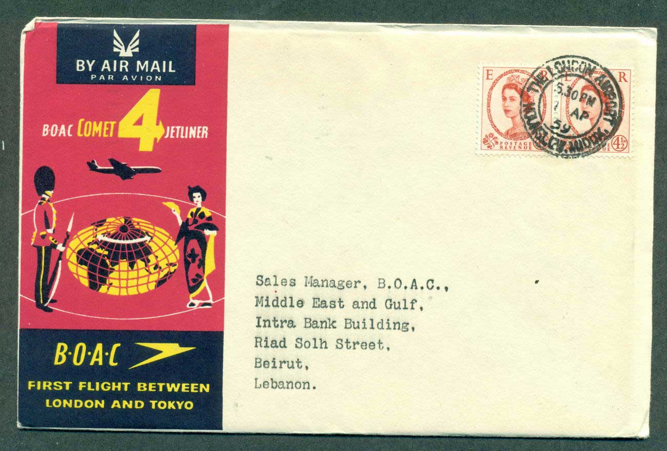 GB 1959 First Flight BOAC London Tokyo 1 Apr 59 lot42621