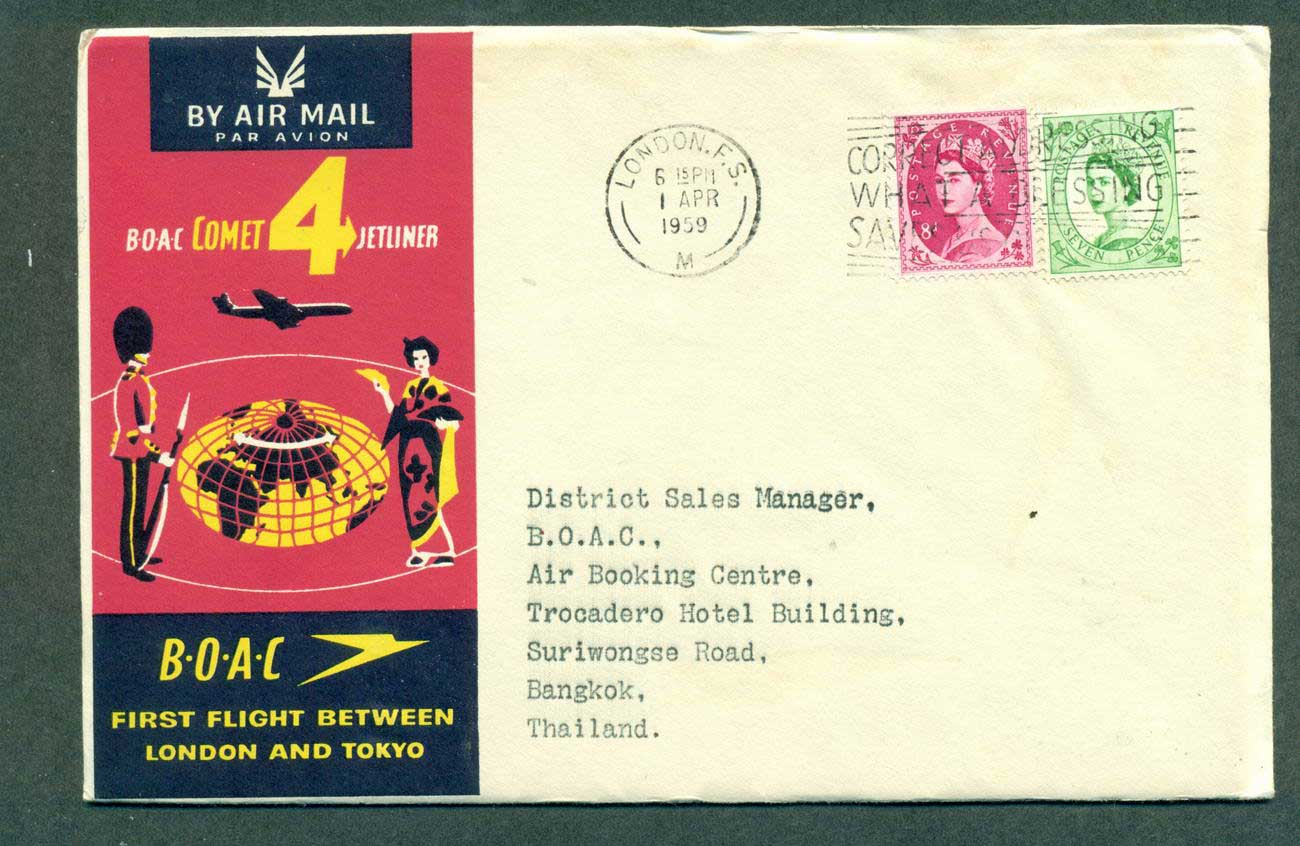 GB 1959 First Flight BOAC London Tokyo 1 Apr 59 lot42623