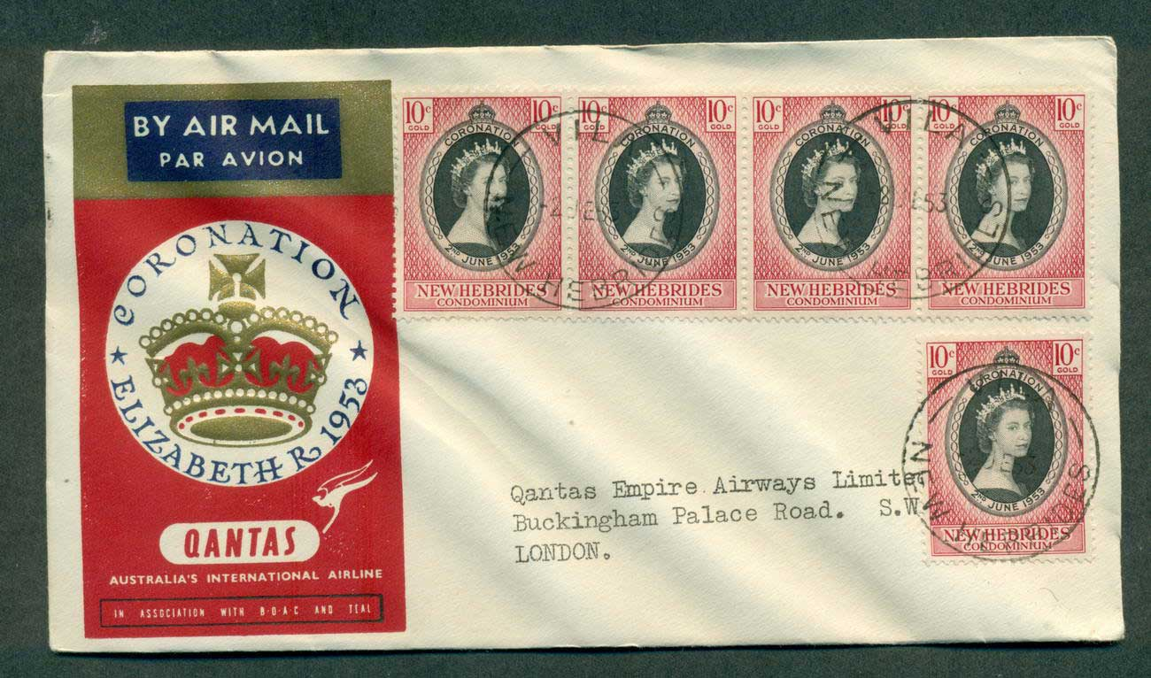 New Hebrides 1953 QANTAS Flight QEII Coronation lot42638