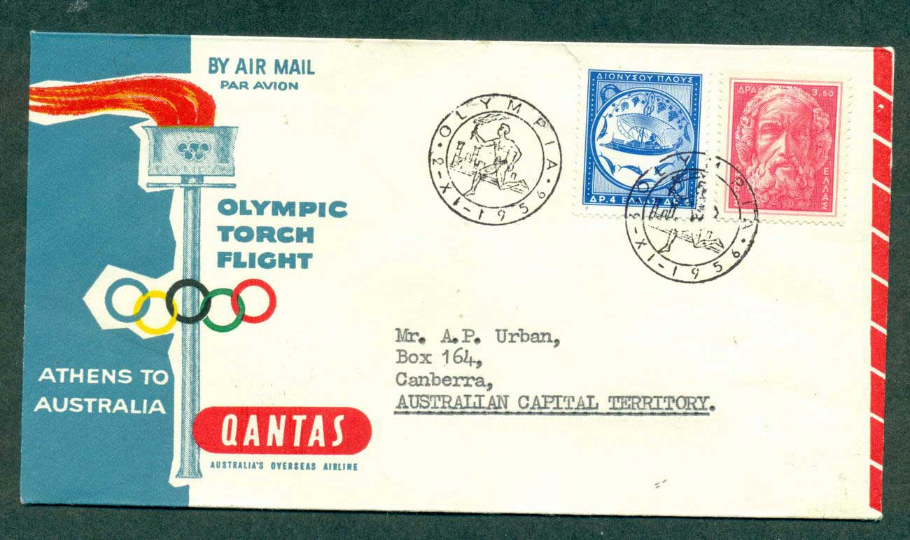 Greece 1956 QANTAS Olympic Torch Flight Athens Melbourne 2 Nov 56 lot42644