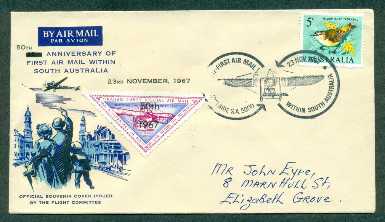 Australia 1967 50th Anniv First Airmail Service within South Australia 23 Nov 67 lot42662