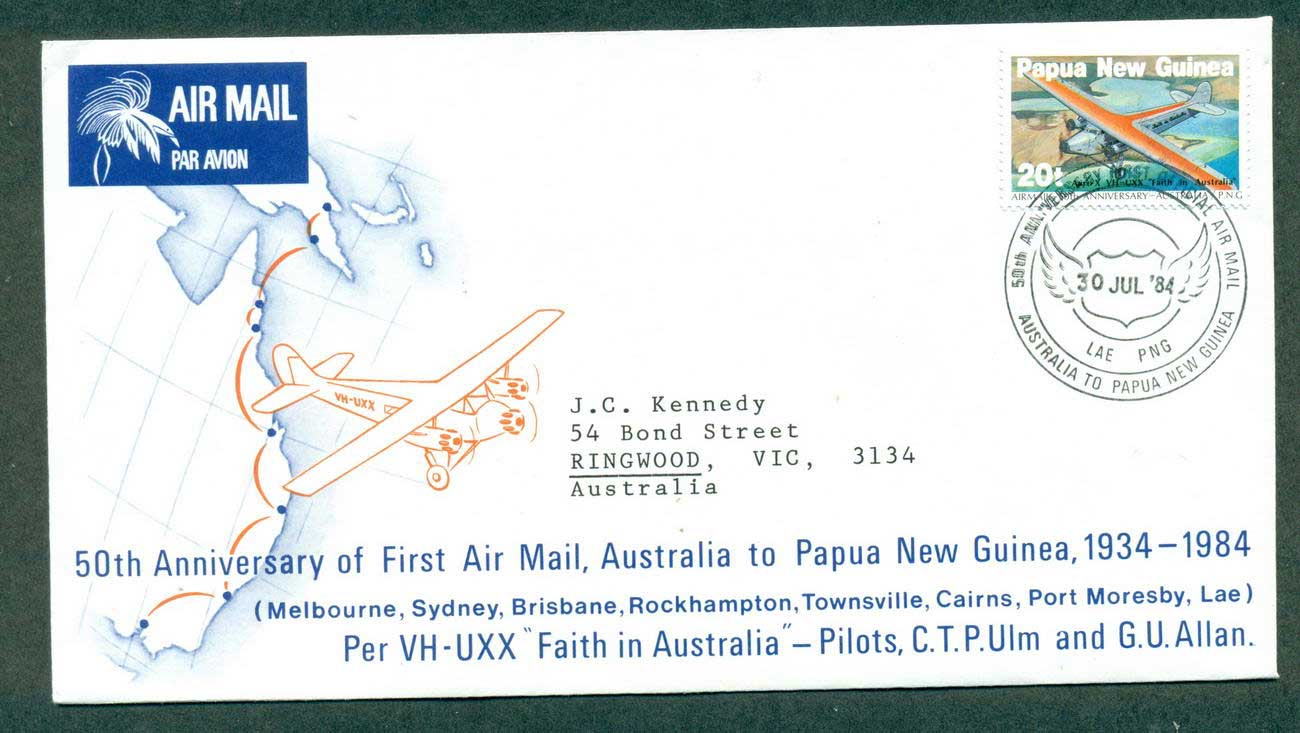 PNG 1984 50th Anniv. First Air Mail Flight Australia to PNG 30 Jul 84 lot42668