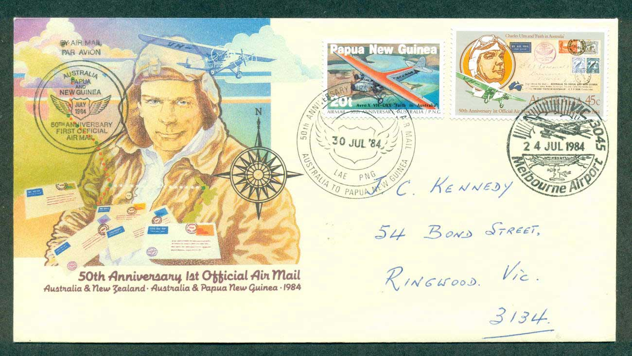 PNG 1984 50th Anniv. First Air Mail Flight Australia to PNG 30 Jul 84 lot42670