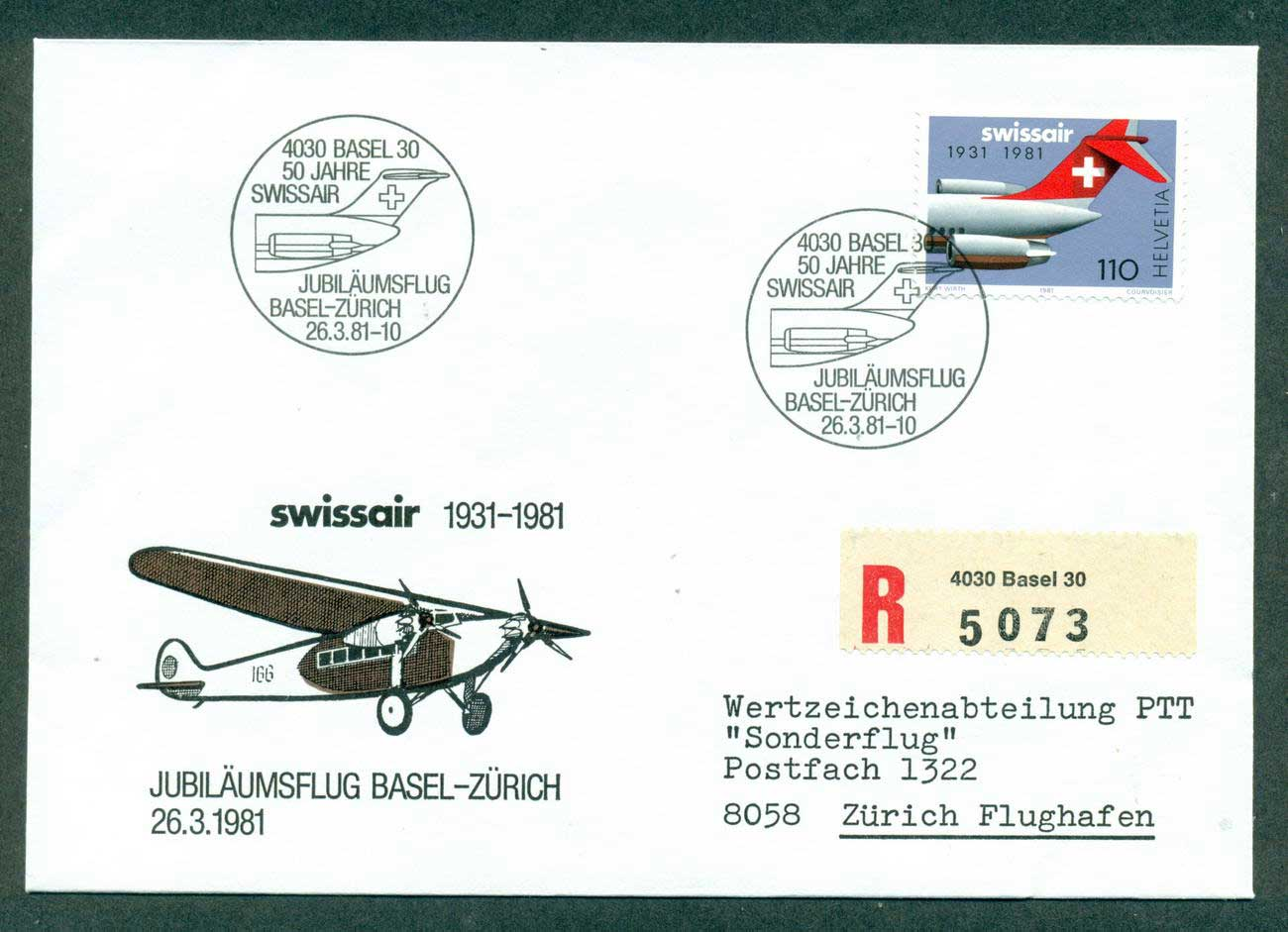 Switzerland 1981 Swissair 50th Anniv Basel-Zurich Flight lot42673