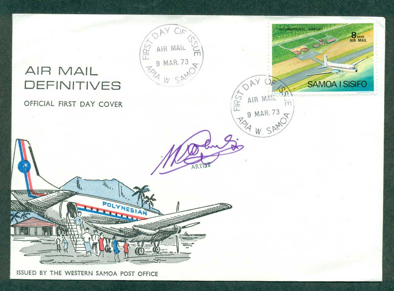 Samoa 1973 Artis Signed Air mail 8s Defin FDC lot42676