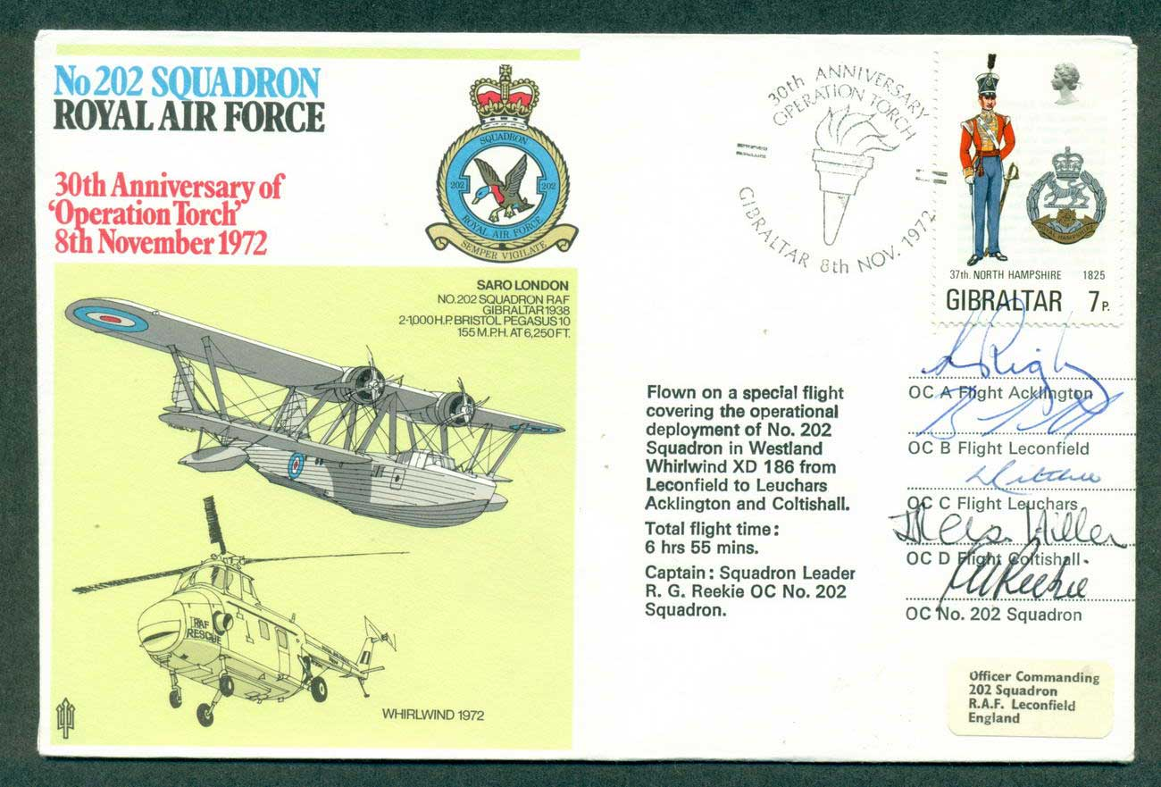 "Gibraltar 1972 RAF 202 Squadron 30th Anniv ""Operation Torch"" Crew Signed lot42685"