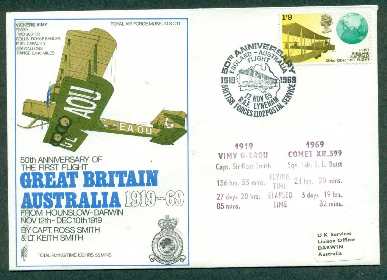 GB 1969 Ross Smith 50th Flight Anniv lot42688