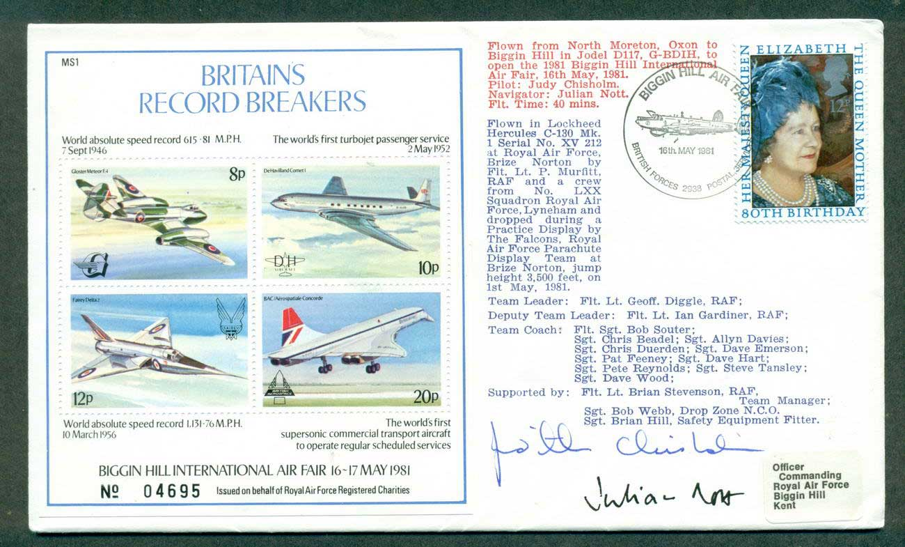 GB 1981 Biggin Hill Air Fair Cinderella MS Crew Signed lot42694
