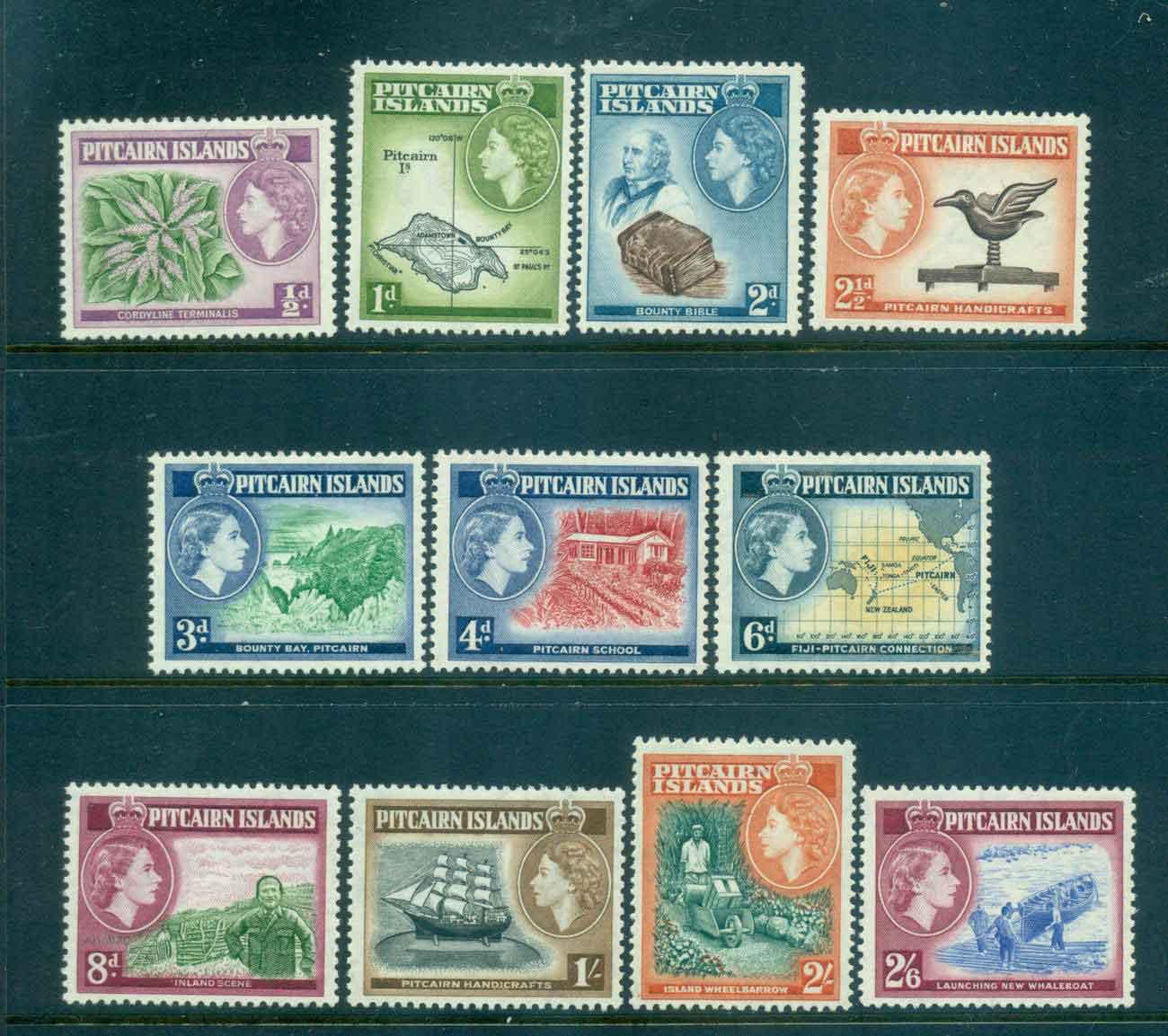 Pitcairn Is 1957 QEII Pictorials (11) MLH lot43306
