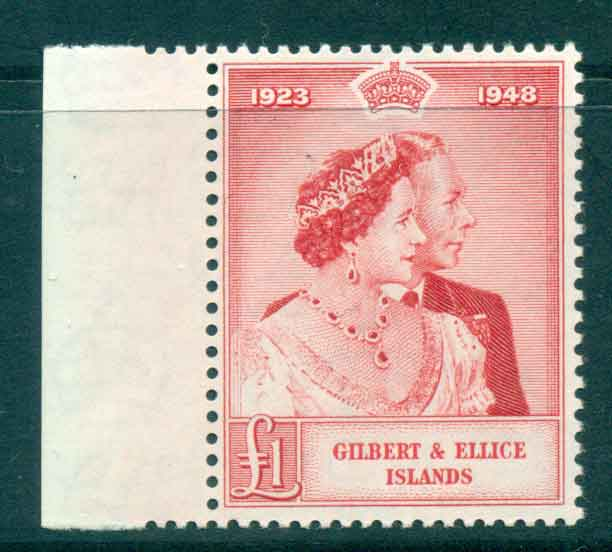 Gilbert & Ellice Is 1949 �1 Silver Wedding MUH lot434682
