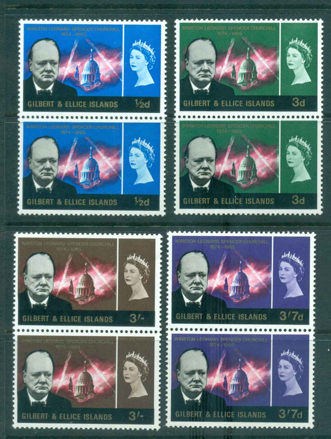 Gilbert & Ellice Is 1966 Churchill pairs MUH lot434692