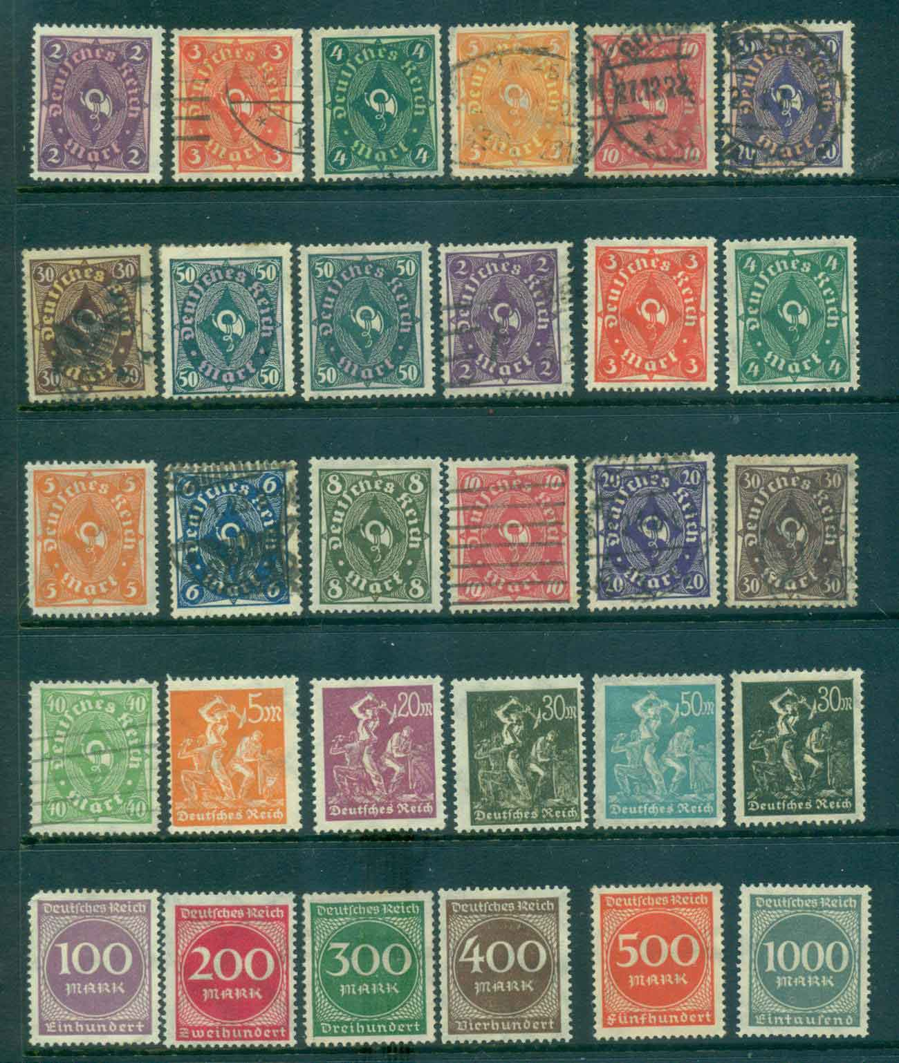 Germany Reich 1922-23 Posthorn & Workers Asst MH/FU lot43727