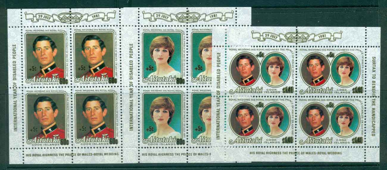 Aitutaki 1981 Charles & Diana Wedding Sheetlets Surch. MUH lot44745