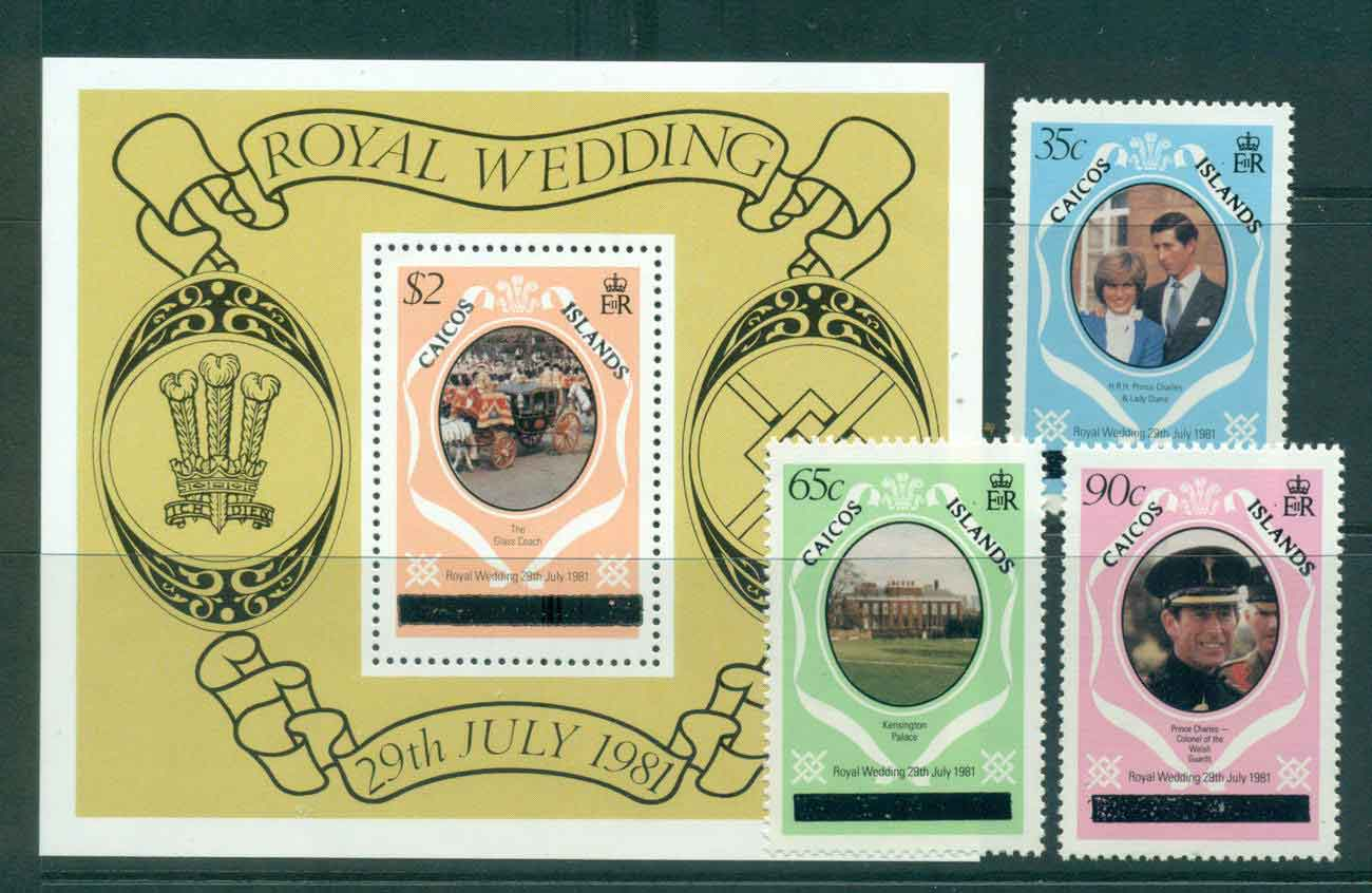 Caicos Is 1981 Charles & Diana Wedding Upper case + MS MUH lot44871