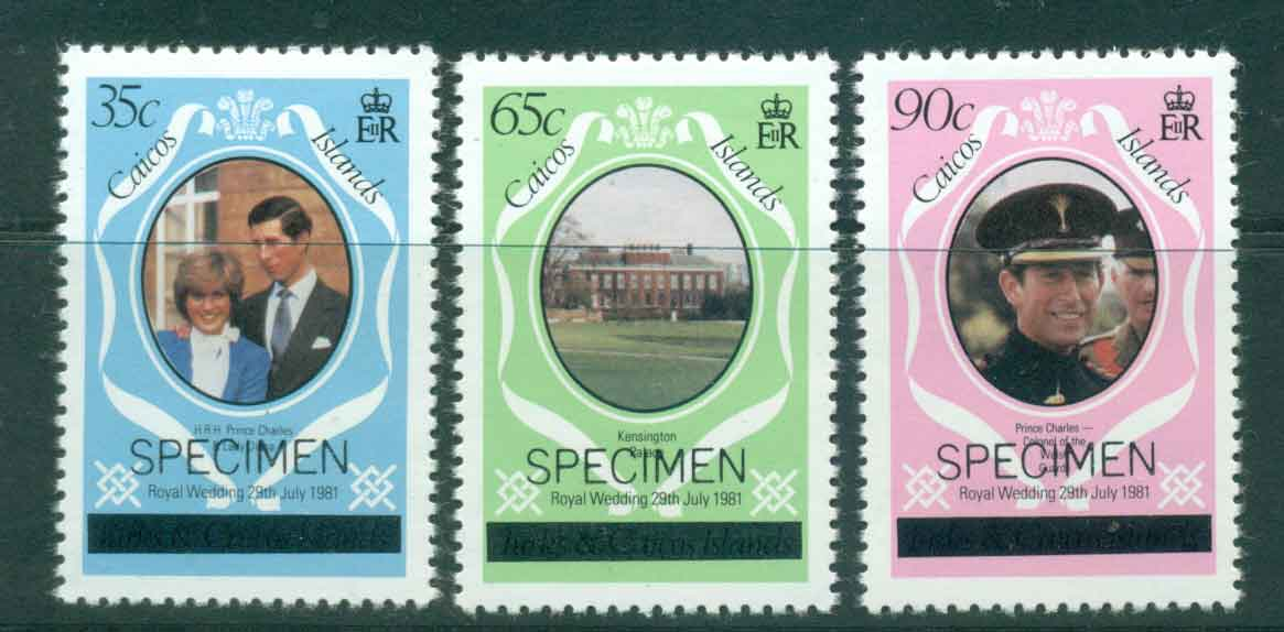 Caicos Is 1981 Charles & Diana Wedding Lower case (3) SPECIMEN MUH lot44884