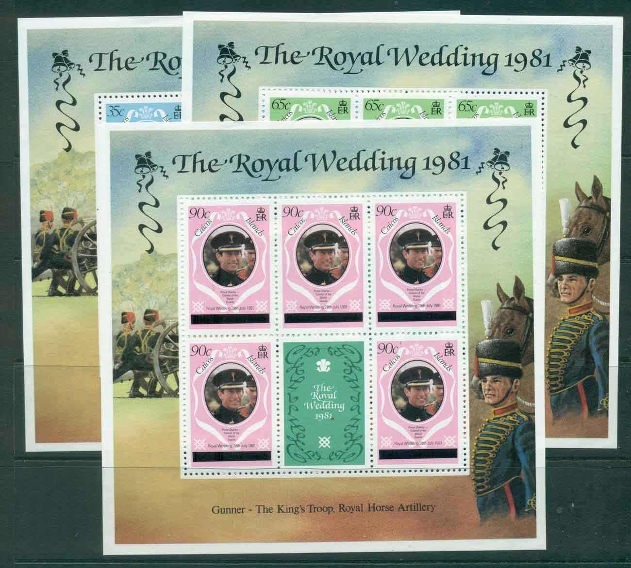 Caicos Is 1981 Charles & Diana Wedding Lower case 3x Sheetlets MUH lot44885