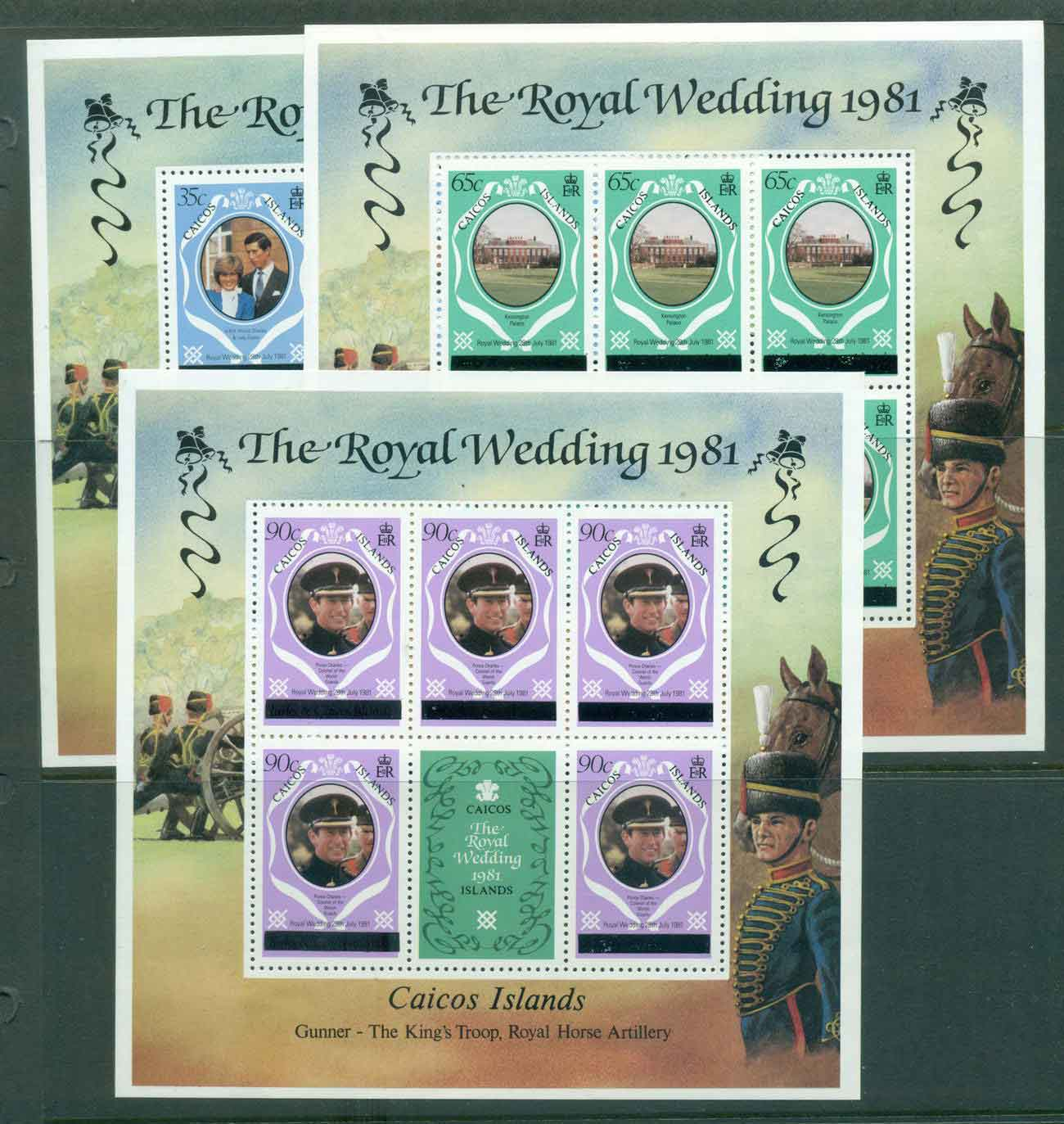Caicos Is 1981 Charles & Diana Wedding Upper case Changed Colours 3x Sheetlets MUH lot44886