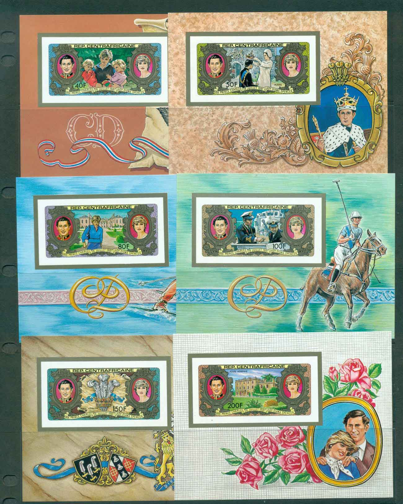 Central African Republic 1981 Charles & Diana Wedding 6x IMPERF MS MUH lot44896