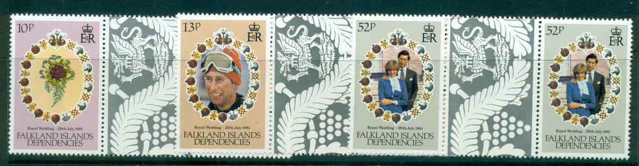 Falkland Is Deps 1981 Charles & Diana Wedding Gutter prs.MUH lot44948