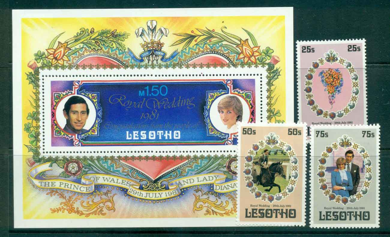 Lesotho 1981 Charles & Diana Wedding + MS MUH lot45074