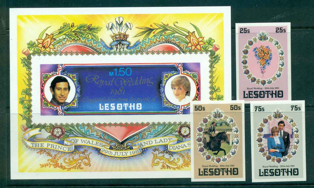 Lesotho 1981 Charles & Diana Wedding + MS IMPERF MUH lot45076