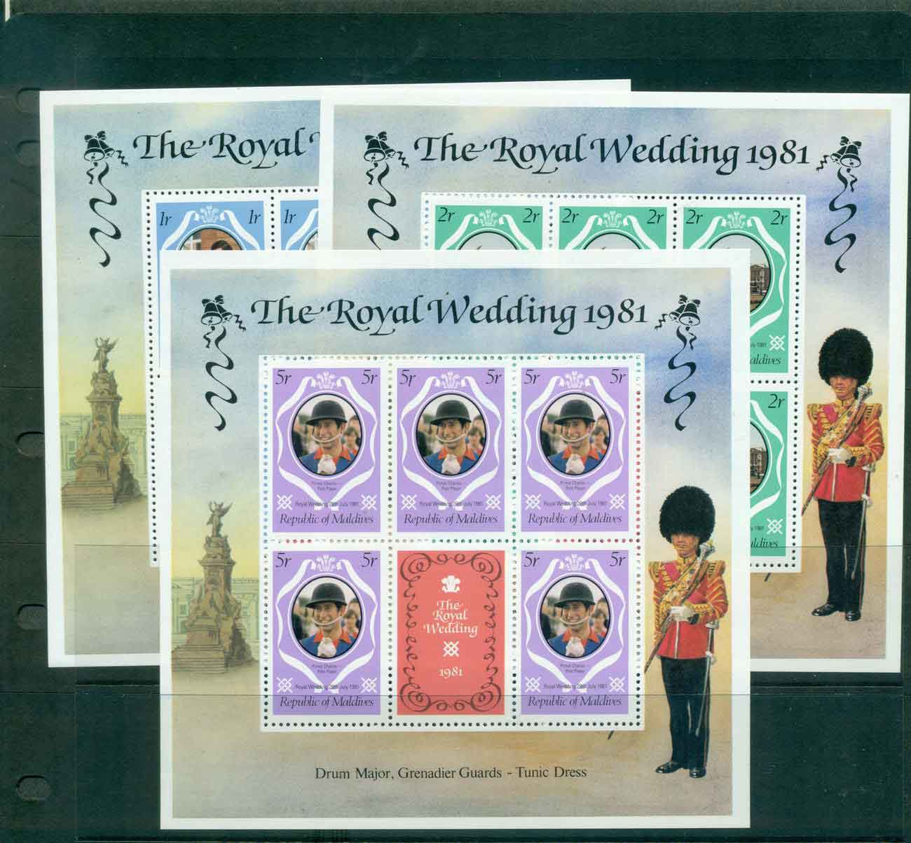 Maldive Is 1981 Charles & Diana Wedding changed colours 3x sheetlets MUH lot45104