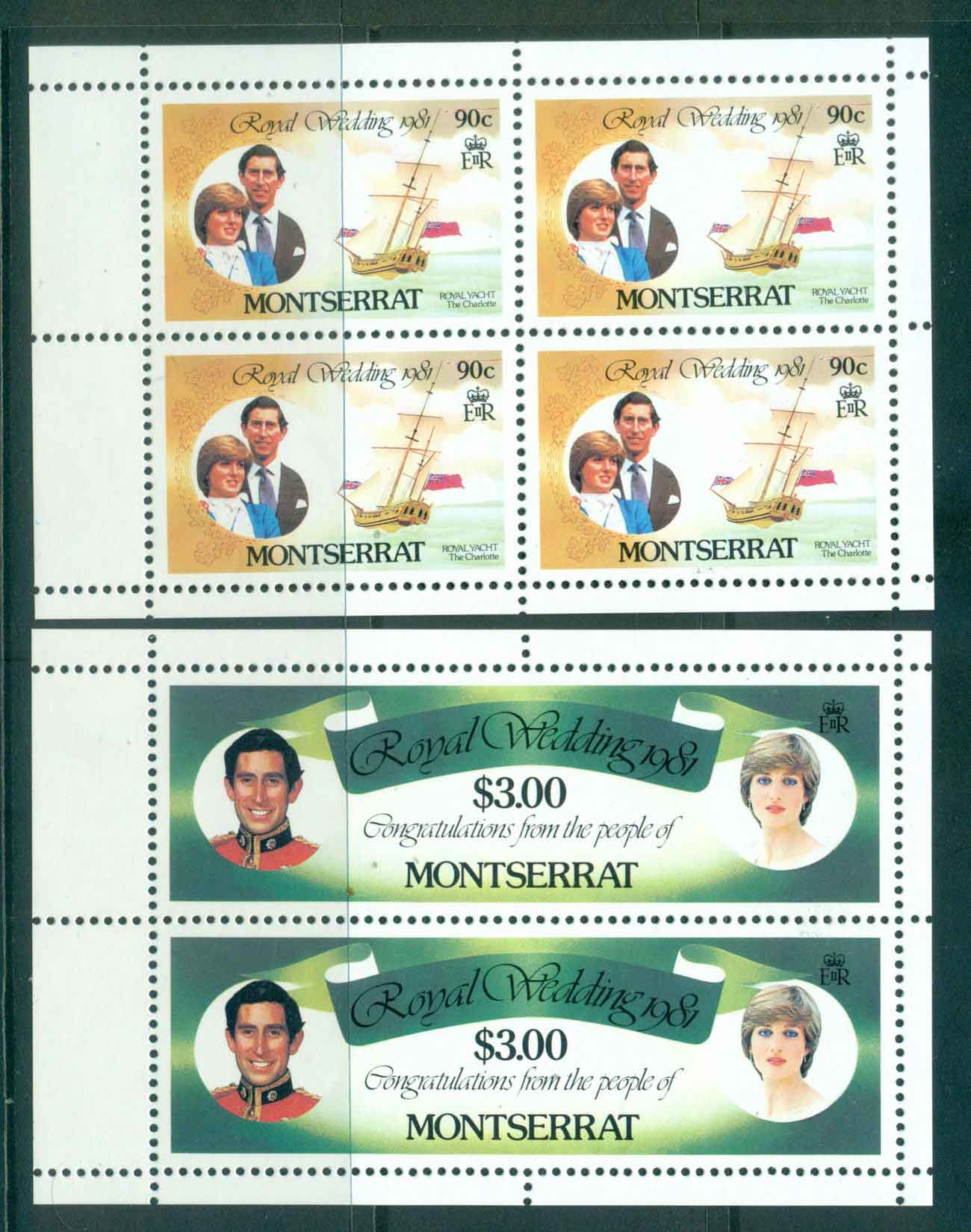 Montserrat 1981 Charles & Diana Wedding 2x Booklet panes MUH Lot45109