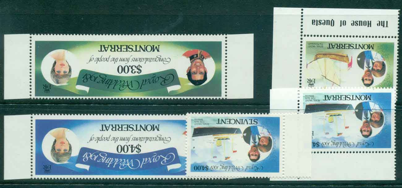 Montserrat 1981 Charles & Diana Wedding WMK INVERTED Asst MUH Lot45110