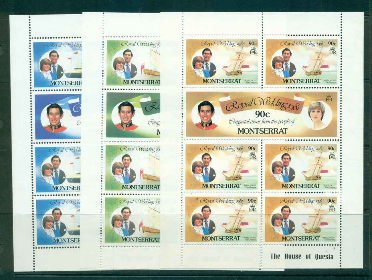 Montserrat 1981 Charles & Diana Wedding 3x Sheetlets MUH Lot45111