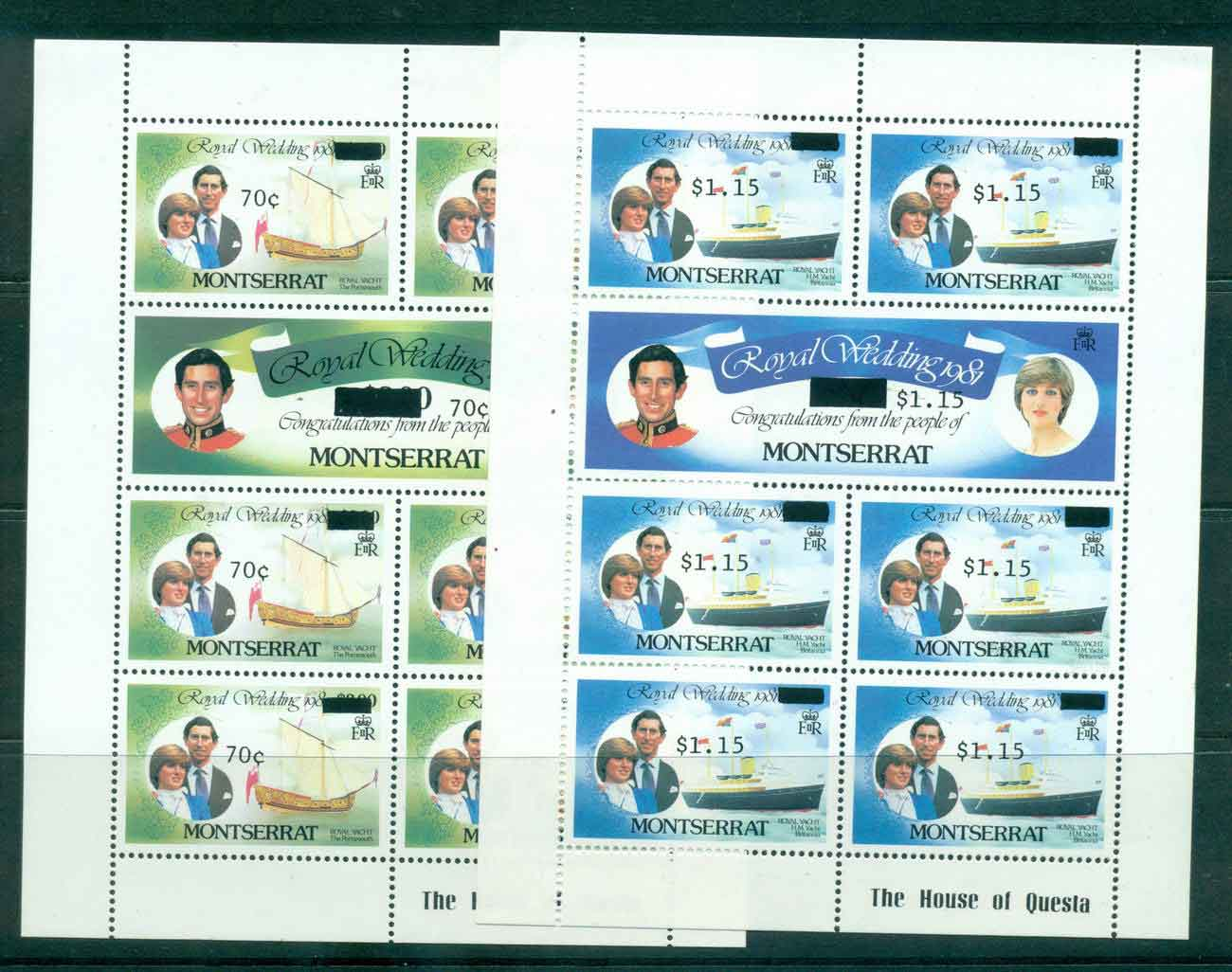 Montserrat 1981 Charles & Diana Wedding Surcharged 2x Sheetlets MUH Lot45112