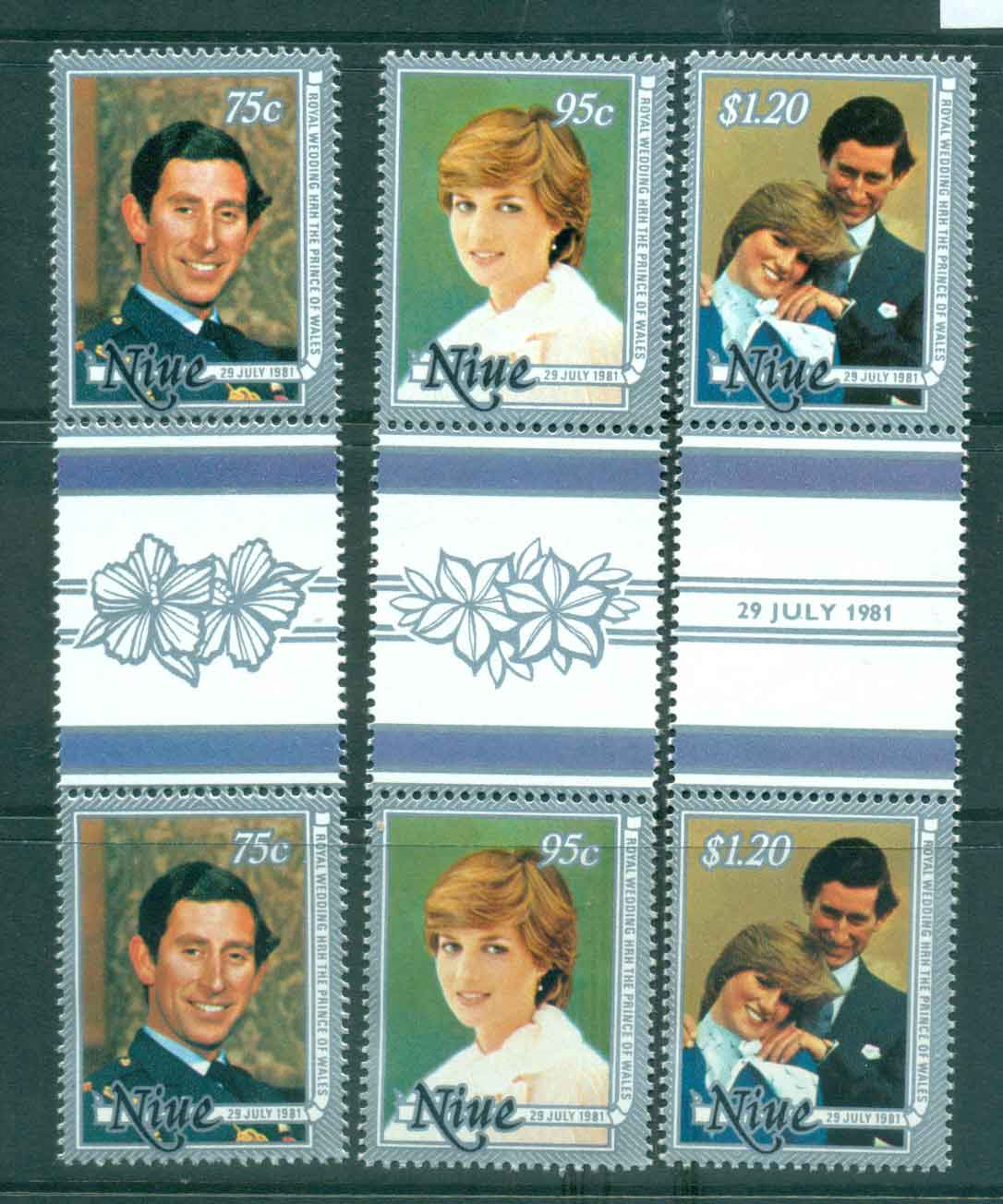 Niue 1981 Charles & Diana Wedding Gutter prs MUH Lot45129