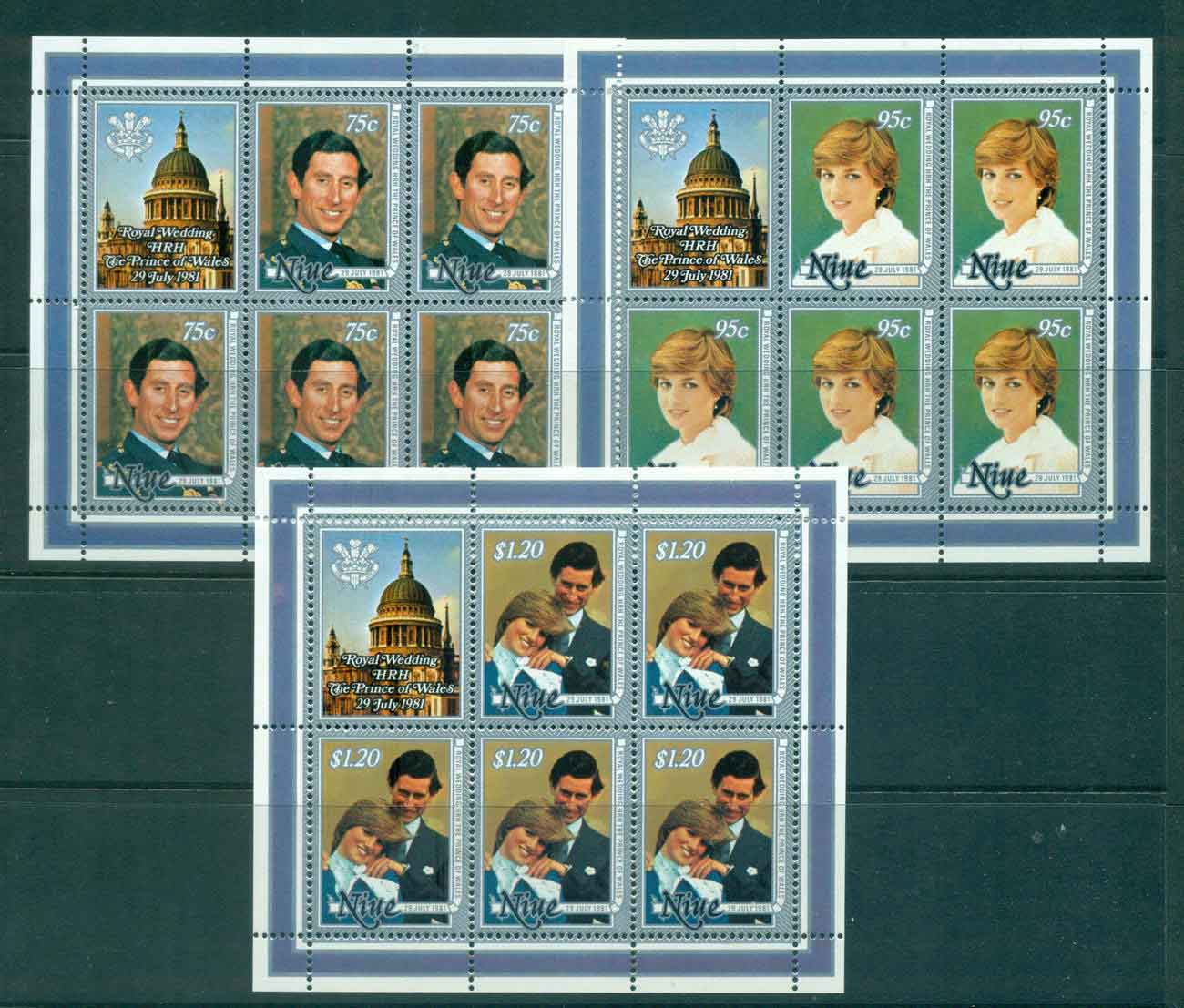 Niue 1981 Charles & Diana Wedding 3x Sheetlets MUH Lot45131